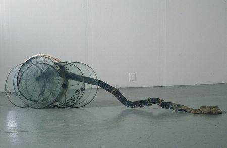 Chariot, 1998, Glass, steel, paper, cement, 96 x 28 x 9 inches
