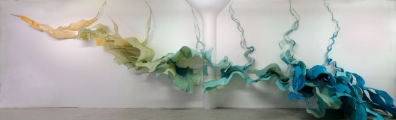 Estuary: Moods and Modes, 2007, Noyes  Museum, Oceanville, NJ 53 x 11 x 18 feet, Handmade Paper and Wire, 2007 Commissioned by the Noyes Museum of Art